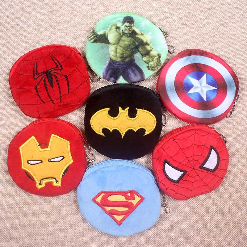 Hot On Sale Kawaii Cartoon Superman/Spiderman/Batman Children Plush Coin Purse Zip Change Purse Wallet Kids Girl Women For Gift