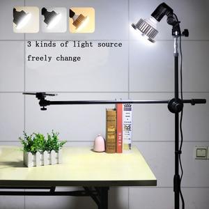 Image 2 - 写真写真電話スタジオライブビデオ撮影キット調整可能な1.3メートルの床三脚ブラケットスタンドブームアーム35ワットled補助光