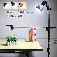 Fotografia do telefone 1.3 m suporte suporte boom braço super brilhante 35 w led anel luz photo studio kit lâmpada de vídeo tiro mesa Acessórios de estúdio de foto     -