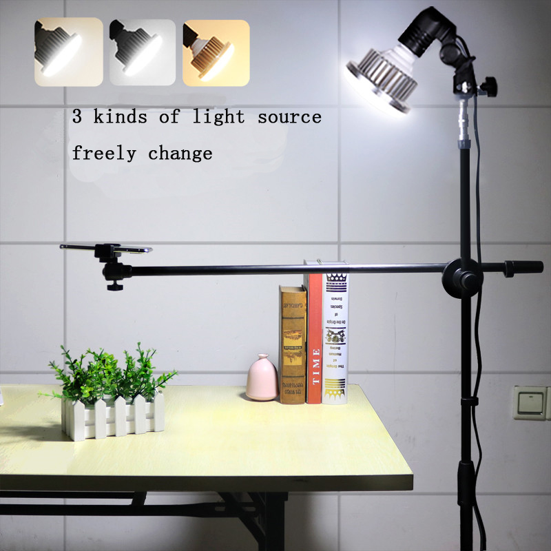 Phone Photography Adjustable 1.3M Bracket Stand + Boom Arm+Super Bright 35W LED Light Photo Studio Kits For Photo/Video ShootingPhone Photography Adjustable 1.3M Bracket Stand + Boom Arm+Super Bright 35W LED Light Photo Studio Kits For Photo/Video Shooting