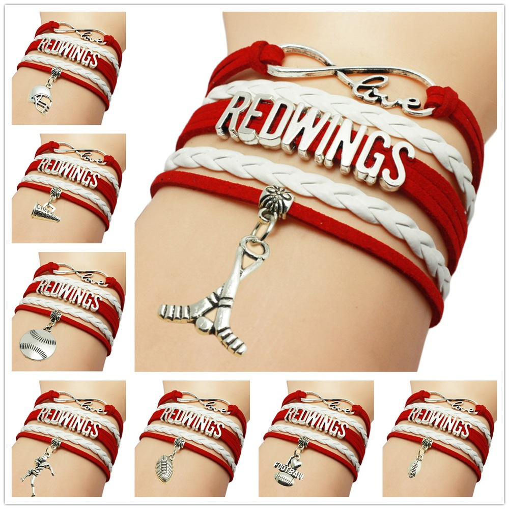 Customizable Infinity Love Red Wings Hockey NHL Sports Team Bracelet red white wristband friendship Bracelets Drop