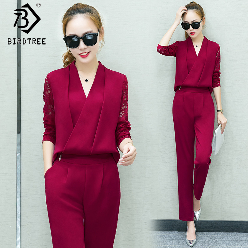 Fashion Women 2 Piece Set Women Suit Female Long Sleeve Lace Work Clothes Trousers Two-Piece Sets Foot Trousers S7D008A