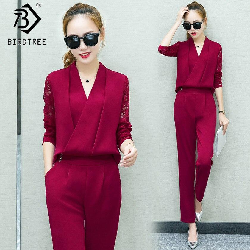 Fashion New 2018 Women 2 Piece Set Women Suit Female Long Sleeve Lace Work Clothes Trousers Two Piece Sets Foot Trousers S7D008A