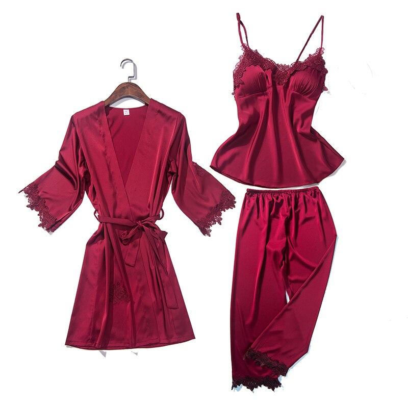 Women Pajamas Sexy Lace Pyjama 3pcs Set Lingerie Robe Pants for Women Chest Pad Nightwear 2018 Autumn New Sleepwear Black XXL in Pajama Sets from Underwear Sleepwears