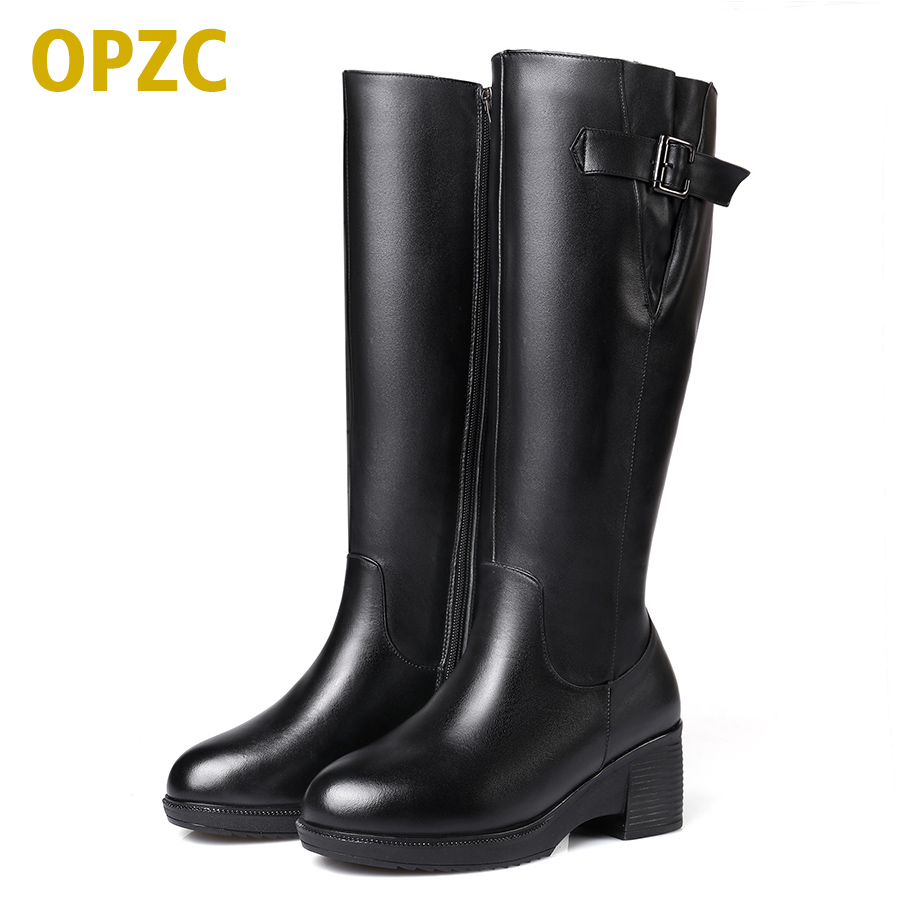 Long boots wool women's boots winter high boots thick warm non-slip large size 35-43 # full genuine leather snow boots women