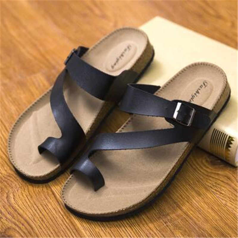 Men Shoes Sandals Slippers Summer Male Flats Sandals Cork Slippers Casual Shoes Mixed Colors Beach Slides Plus Size 35-46