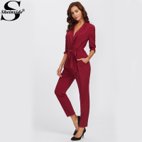 Sheinside Wrap And Tie Detail Tailored Jumpsuit 2017 Burgundy V Neck Long Sleeve Elegant Jumpsuit Ladies