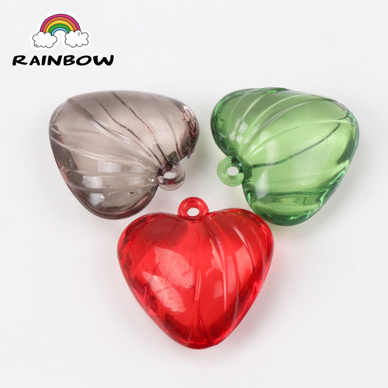 Mixed Color Love Heart Crystal Acrylic Spacer Pendants Charm Bead Fit Decoration Handmade Jewelry Accessory DIY 30x30mm 10pcs