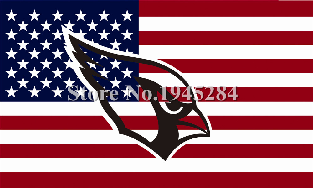 NFL Arizona Cardinals Hollow Out Shape with US Flag New 3x5ft 150x90cm Polyester Flag Banner, free shipping