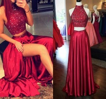 2019 Two Pieces Prom Dresses High Neck robe de soiree Crystal Beaded Burgundy Side Split Hollow Back Long Formal evening Dress