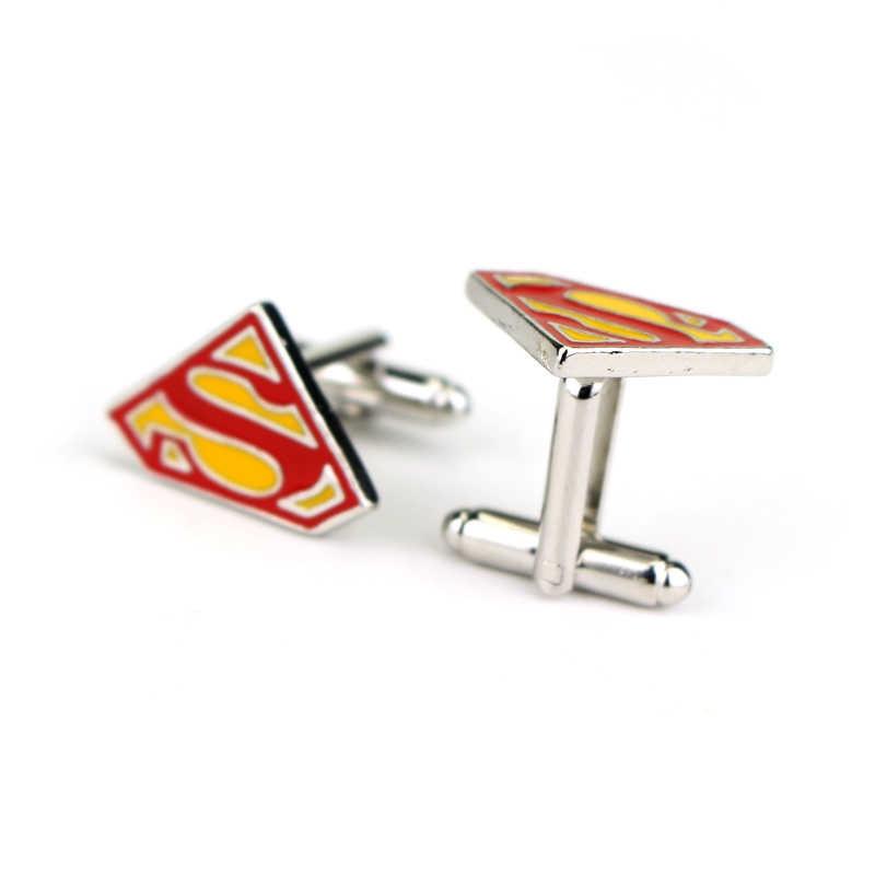 Dongsheng Новые запонки с эмблемой Супермена S манжета логотип Кнопка Мода супергерой Подвеска из Эмали ювелирные изделия для мужчин украшения для футболки-40