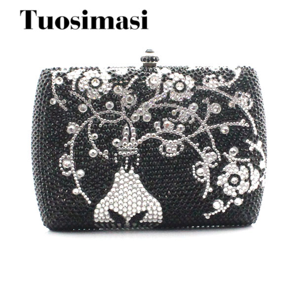 Flower pattern with vase slive and black crystal clutch bag women fashion party evening bag chain handbag day clutches(1015SV) diamond crystal mini evening party bag women beading day clutches ladies chain gold clutch purses and handbag smyzh f0040