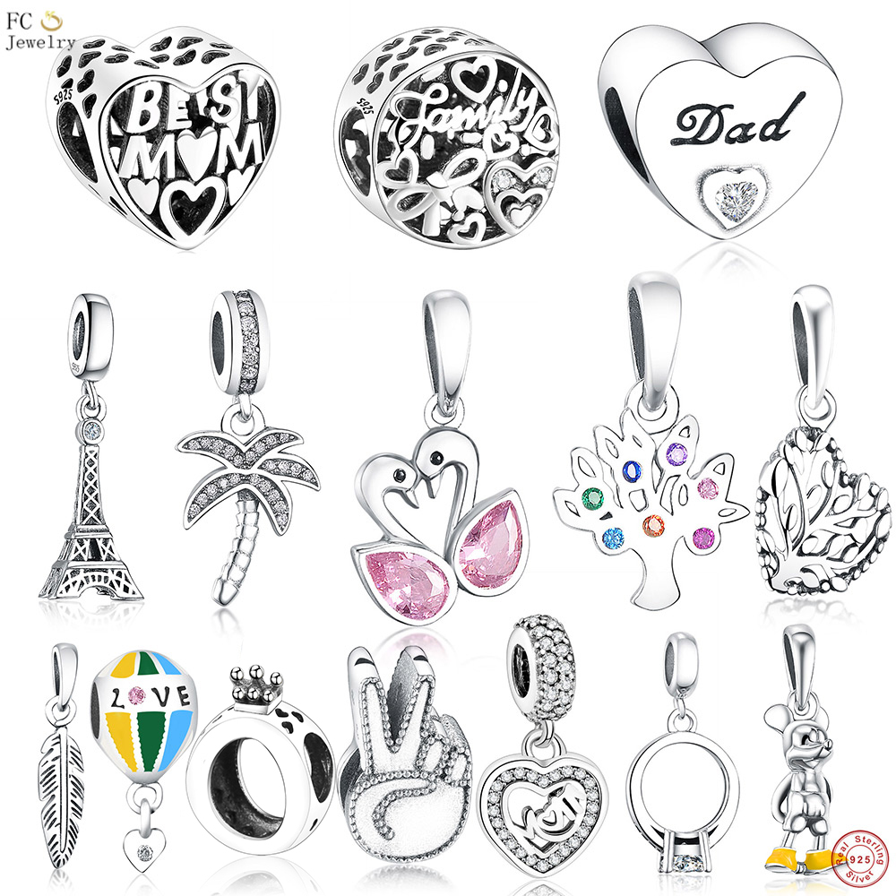 FC Jewelry Fit Original Pandora Charms Bracelet Authentic 925 Silver Paris Eiffel Tower Pendant Hanging Beads Berloque DIY Gift 100% authentic 925 sterling silver eiffel tower charm beads fit pandora charms beads bracelet diy original silver jewelry making