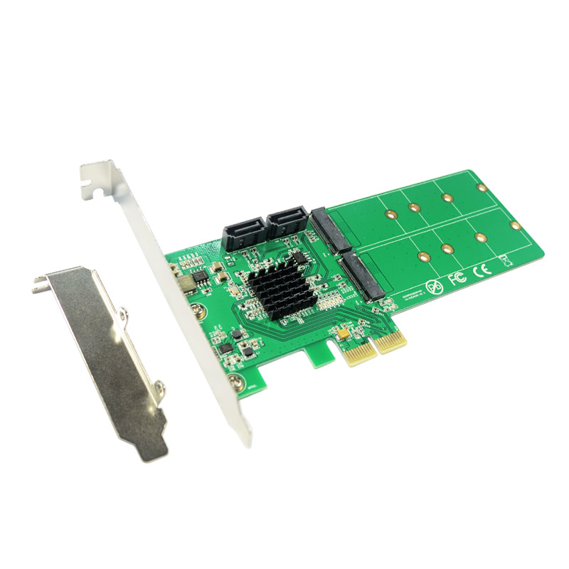 IOCREST 2 ports SATA 6Gbps + Dual B key M.2 slot PCI-e Card SATA 3.0 NGFF SSD + HDD Expansion Card Adapter Support win10 dual sata iii dual ngff slot pci e card hyperduo sata 6gbps 3 0 hdd m 2 ssd built raid pci express card