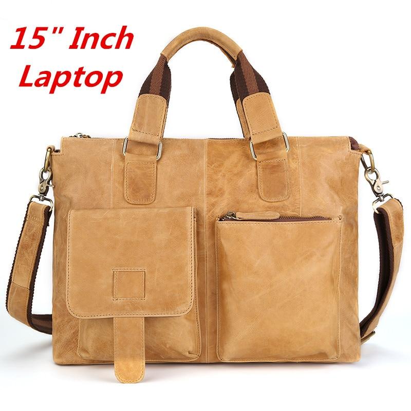 """100% Garantieren Natürliche Echte Leder Männer Handtasche 15 """"zoll Laptop Tasche Männlichen Schulter Taschen Vintage Casual Business Aktentasche"""