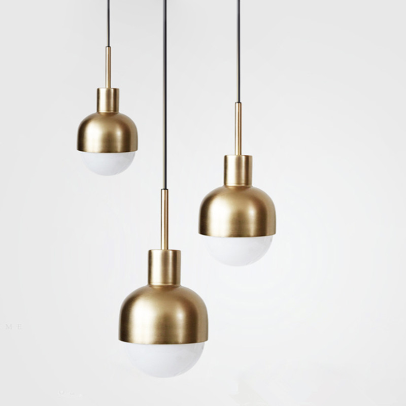 Nordic Denmark Copper Dining Room Pendant Lights Loft Style Bar Mini Suspension Luminaire Light Fixture With