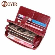 цена JOYIR Women Clutch 2019 Womens Wallets Purses Genuine Leather Money Bag Card Holder Wristlet Female Long Wallet Phone Carteras в интернет-магазинах