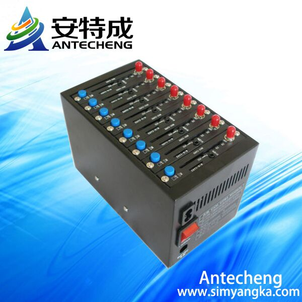 Factory 8 port modem pool sms gsm MC55i TCP/IP USSD STK Mobile recharge Quad band 850/900/1800/1900 Mhz