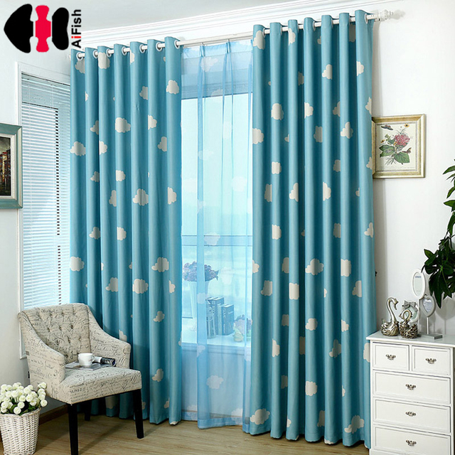 Blue Curtain cloud kids nursery bed Curtain Shade Cloth transparent tela cortinas bedroom Pink curtains for - Nursery Curtains