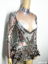 Silver sparkling Sequins rhinestones dress sexy female costumes Bright crystals singer dancer nightclub bar show DJ party groom
