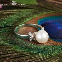 JEWELLWANG пресноводный жемчуг кольца для женщин 925 пробы серебряные ювелирные изделия оригинальный дизайн Свадебные Роскошные блестящие