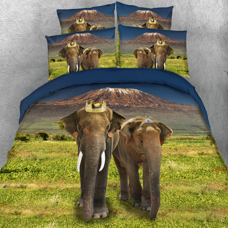 Bedding Sets 3d Vivid Elephants Bedding Sets Duvet/quilt Cover Single Full Queen King Size Bedlinen 3/4pc 500tc Adult/kid Coverlet Pillowcase Neither Too Hard Nor Too Soft