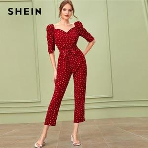 Image 3 - SHEIN Sweetheart คอพัฟแขน Elegant Jumpsuit กับเข็มขัดผู้หญิง 2019 ฤดูใบไม้ร่วงสูงเอวขาตรง Jumpsuits