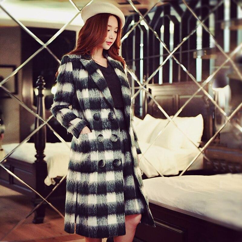 Abrigo de lana Otoño Invierno tallas grandes nueva moda casual temperamento  larga delgada chaqueta de lana a cuadros las mujeres al por mayor b49d81b6f50f