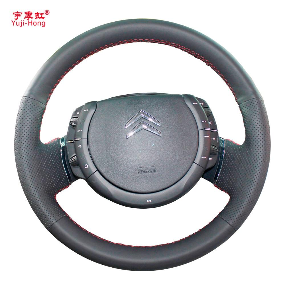 Yuji-Hong Artificial Leather Car Steering Wheel Covers Case for Citroen C-Quatre 2009-2011 C4 C-Triomphe Black hid 2009 2015 car styling citroe c quatre headlight elysee xsara c4 picasso c5 zx c quatre c triomphe c quatre head lamp