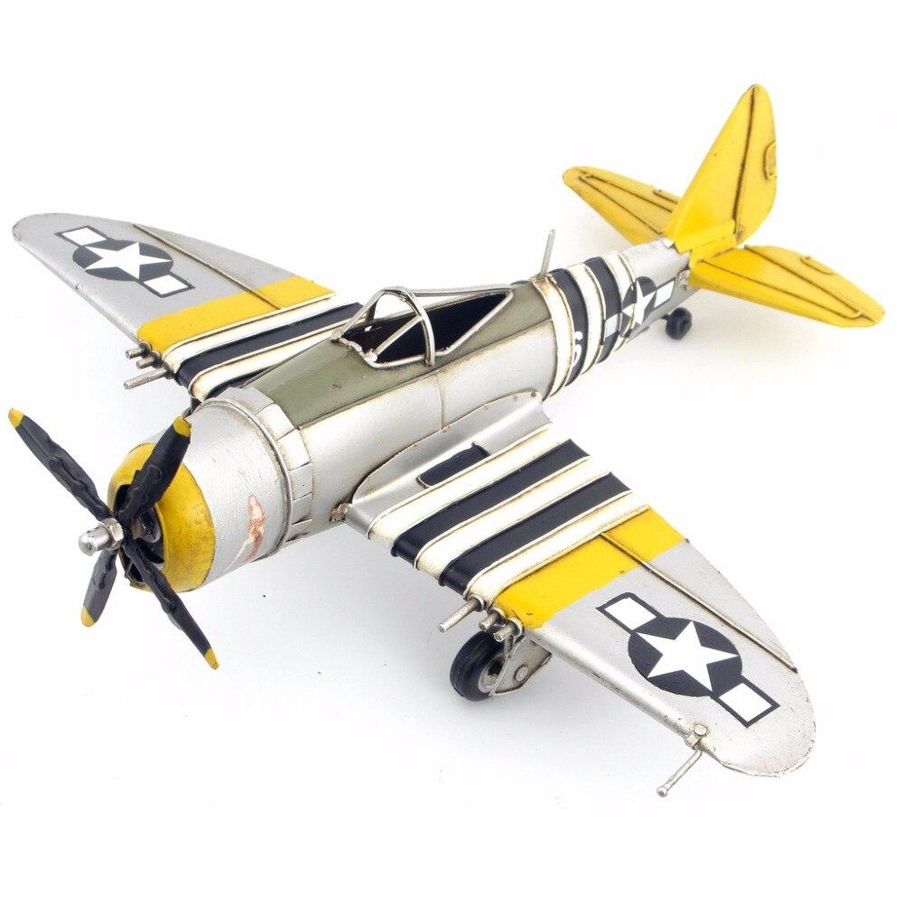 Antique étain avion P-47 combattant Thunderbolt ornements à la main avion modèle avion accessoires ameublement décor à la maison cadeau