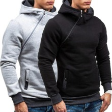 New Casual Solid Mens Hoodies Diagonal Zipper Long Sleeve Hoodie Sweatshirts Men Hoody Pullover Sweatshirt Hooded Sweat Homme
