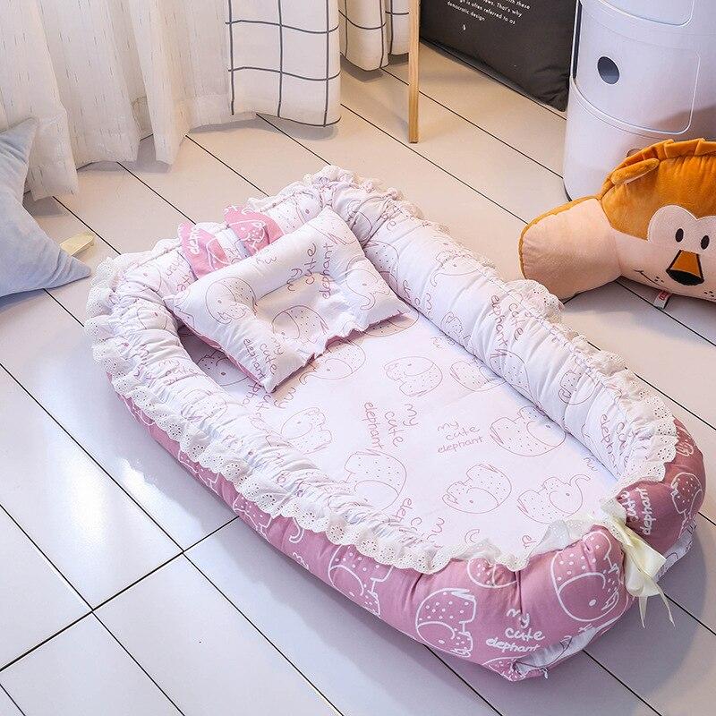 Nouveau-né Bébé portable nid bionique lit enfant nid lit mignon éléphant rose bleu artefact de couchage avec oreiller et Pare-chocs