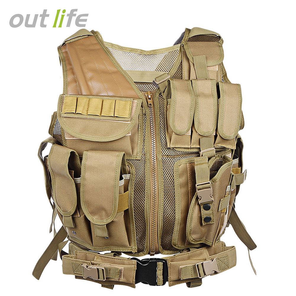 Outlife Camo Hunting Vest Men Tactical Paintball Military Swat Assault Shooting Hunting Molle Vest with Holster summer outdoors tactical mesh multi pockets vest men breathable shooting director photographer hunting hiking vest big size 6xl