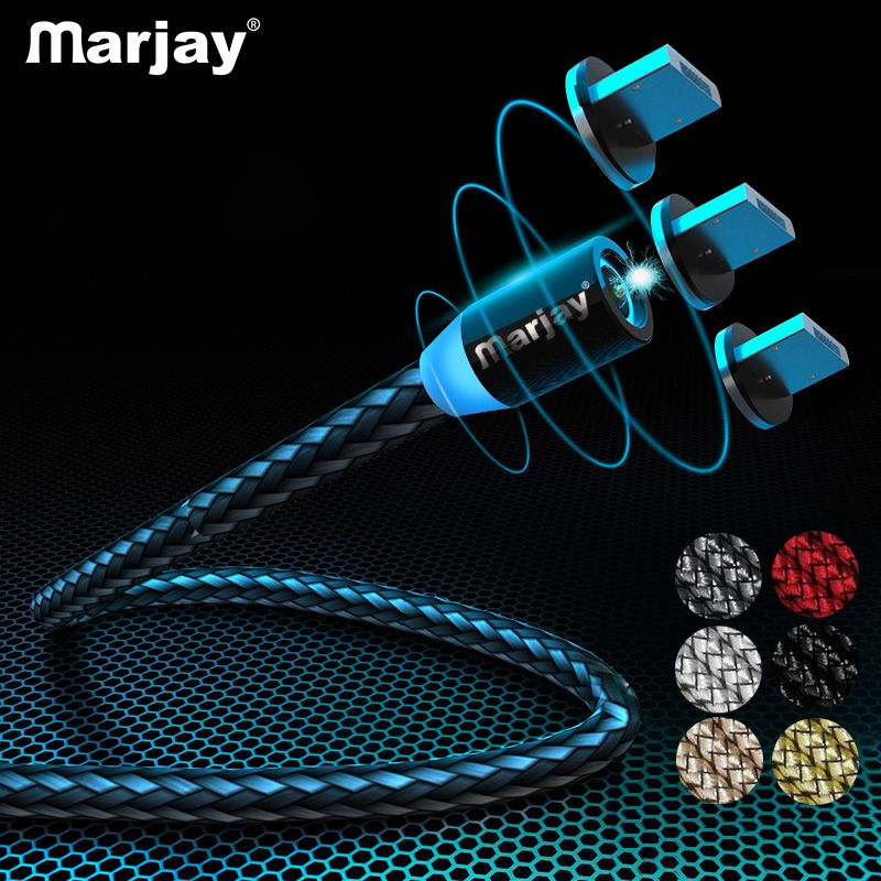 Marjay Magnetic Micro USB Cable Phone Fast Charge for Xiaomi Note5 Charger Led Samsung Cord