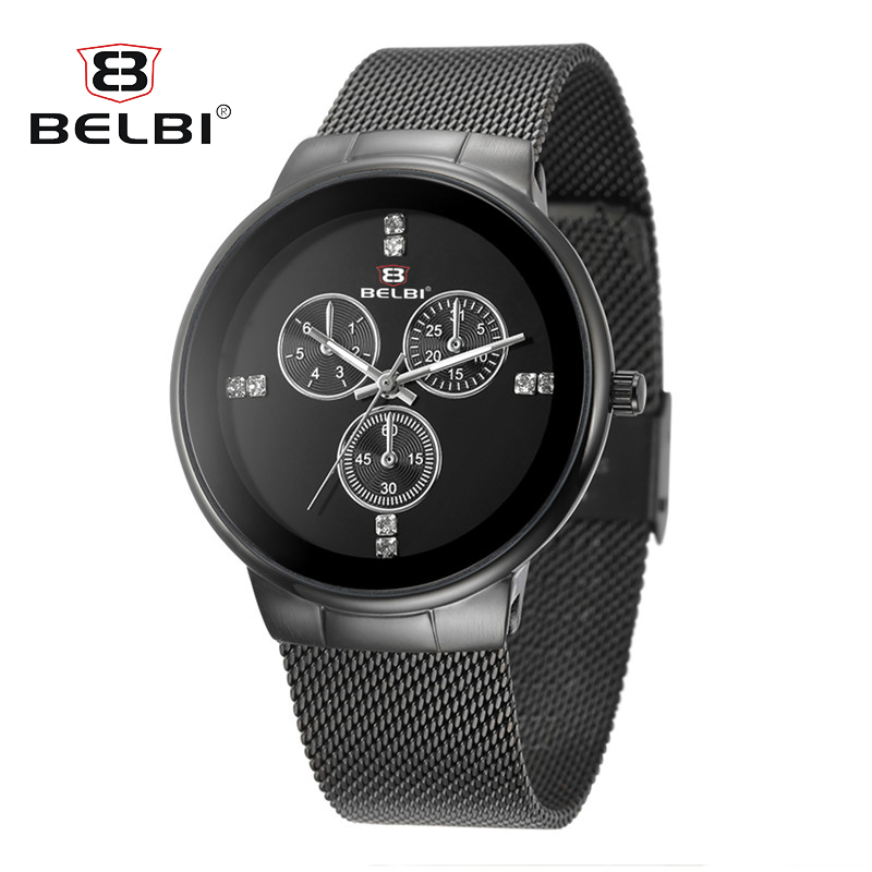 Top Brand Luxury Men Waterproof Stainless Steel Casual Gold Watch Men's Quartz Clock Male Sports Watches BELBI relogio masculino top brand luxury men waterproof stainless steel casual gold watch men s quartz clock male sports watches wwoor relogio masculino