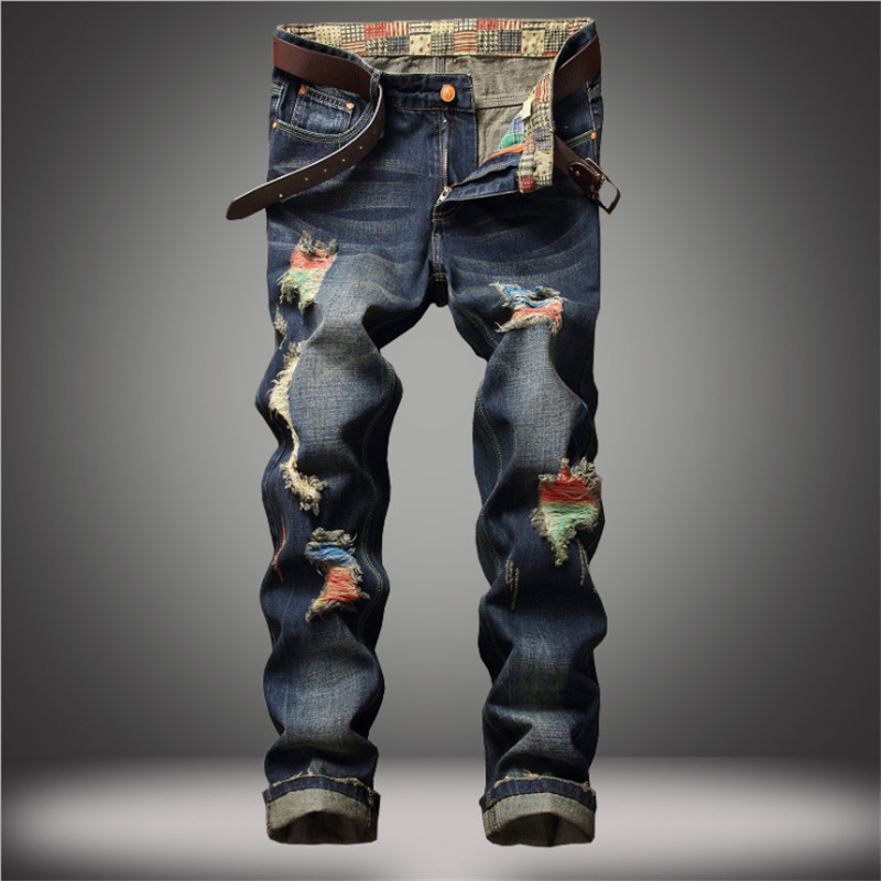 Men Jeans Hip Hop Cool Streetwear Biker Hole Ripped Jean Patchwork Retro Pants Slim Classic Denim Motorcycle Design Trousers