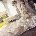Очаровательная многоуровневое органзы Long train спинки русалка Свадебные Платья Sexy sheer V шеи Кружева cap рукавом платье Vestidos Де Noiva