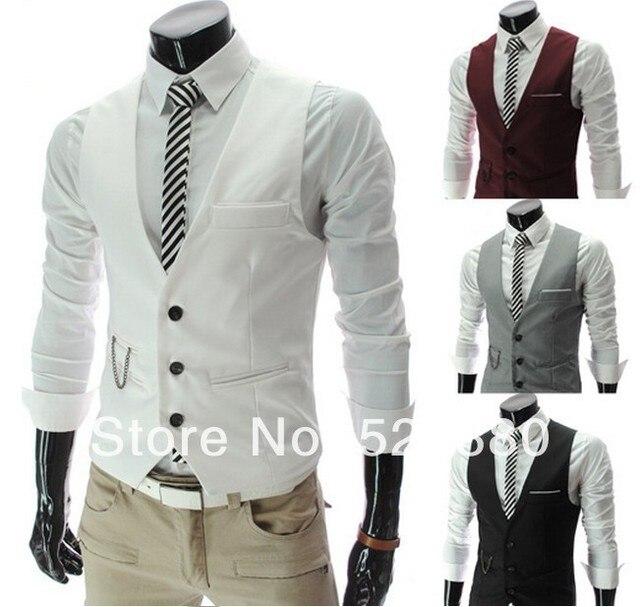New listing  Men Pocket Decorative chain v-neck vests Fashion casual  Slim Fit Men's suit fabrics vest Coat
