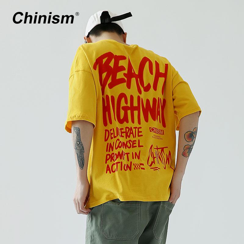 Chinismo calle verano marca letras imprimir hombres camiseta Oversize amarillo suelta camiseta carretera Casual Streetwear hombres camisetas