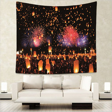 Sky Lantern Tapestry Wall Hanging Sandy Beach Throw Rug Blanket Camping Tent Travel Mattress Sleeping Pad GT23