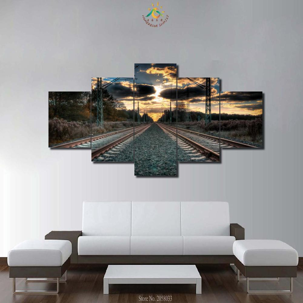 3-4-5 Pieces Railway Wall Modern Wall Art Painting HD Printed On Canvas Home Decor Pictures Wall Art Pictures for Home Decor