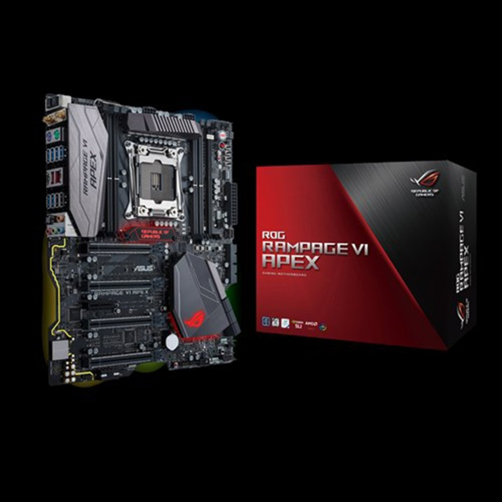 все цены на Original Asus ROG RAMPAGE VI APEX X299 Motherboard LGA2066 DDR4 Memory Support M.2 SSD with Onboard AC Wi-Fi And USB 3.1