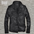 Black genuine leather jacket coat men sheepskin motorcycle jackets chaqueta moto hombre veste cuir homme cappotto LT1081