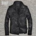 Negro de cuero genuino capa de la chaqueta de los hombres de piel de oveja de la motocicleta chaquetas chaqueta de moto hombre veste cuir homme cappotto lt1081