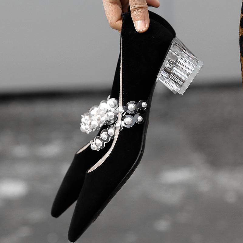 Pista Bombas Tacones Cuero Gran Puntiagudo Superestrella De Del Krazing Negro Mujeres Med Perla Primavera Superficial Genuino Pie Dedo Tamaño blanco L06 Olla Zapatos Partido OwYZqU