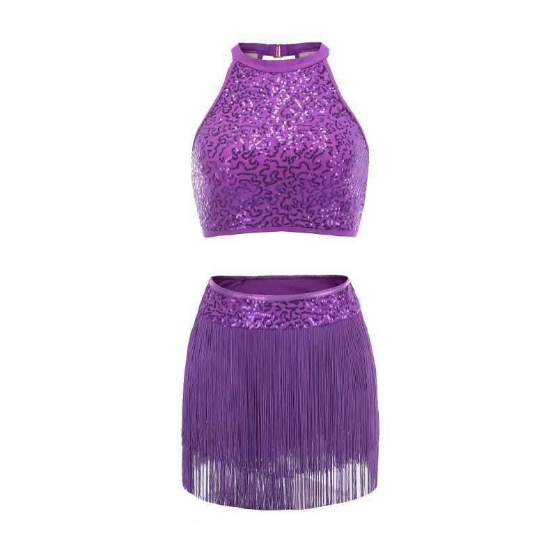 Блестки Сращивание Холтер платье танцевальная одежда балетная гимнастика практические занятия танцами одежда красный фиолетовый черный