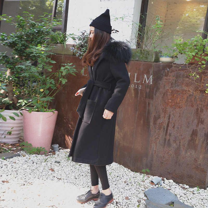 Tcyeek 2020 חדש נשים תעלת צמר מעיל חורף Slim נדל דביבון פרווה סלעית מעיל חורף מעילי שחור מעיל לנשים YYJ172