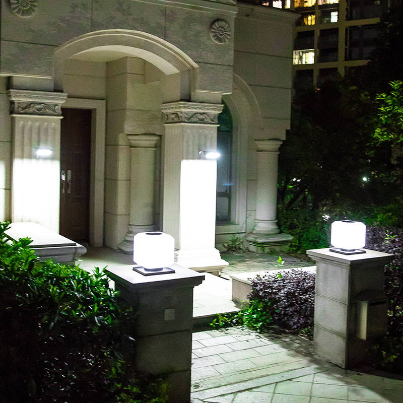 coluna lampada ao ar livre movido energia solar jardim luzes decorativas pilar post cap lamp iluminacao seguranca a prova d agua patio villa 02