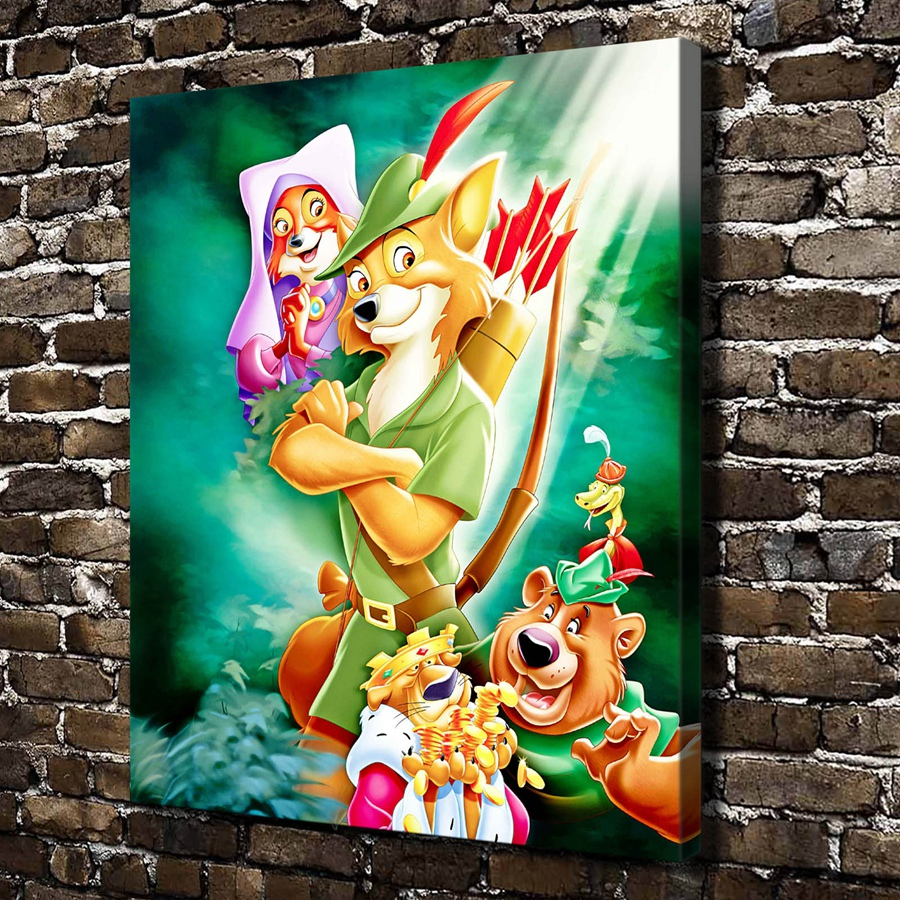 A993 Robin Hood Children Cartoon Film, HD Canvas Print Home decoration Living Room bedroom Wall pictures Art painting