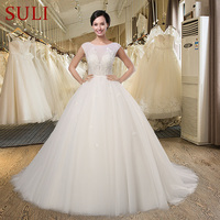 SL 021 Luxury Beaded Scoop Neck 2016 Ball Gown Wedding Dress